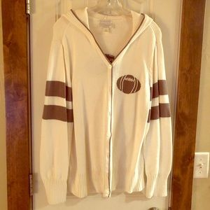 CJ Banks Hand Embr. Sweater w/Hood, Sz X, Cream